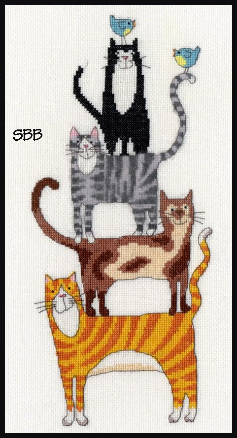 Bothy Threads Kits BTXKM1 Cat Stack ~ Kate Mawdesley ~ 14ct White Aida