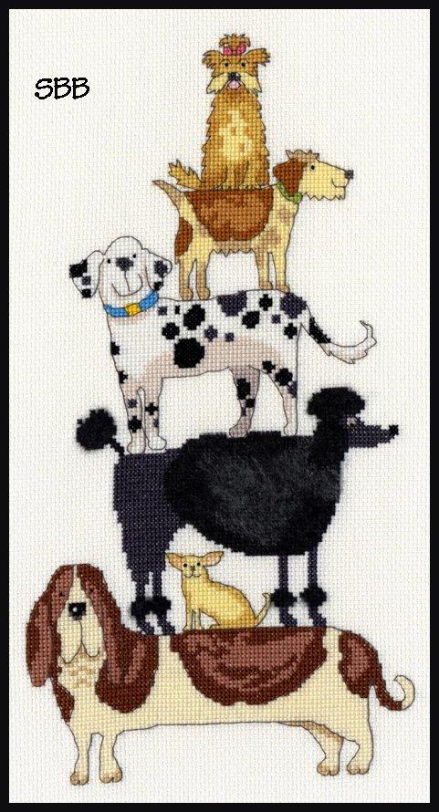Bothy Threads Kits BTXKM2 Dog Stack ~ Kate Mawdesley ~ 14ct White Aida
