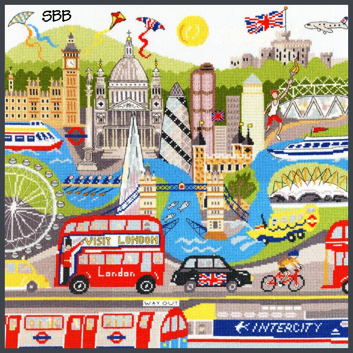 Bothy Threads Kits BTXLS4 London ~ Julia Rigby ~ 16ct Ice Blue Aida