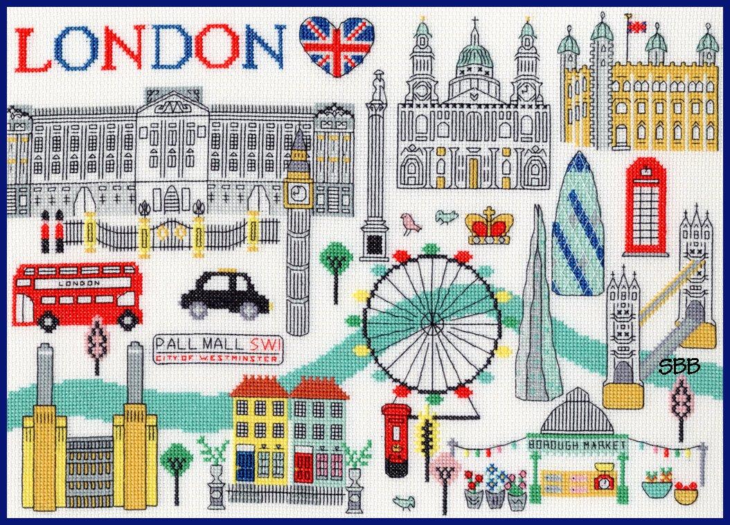 Bothy Threads Kits BTXLS6 Love London ~ Jessica Hogarth ~ 14ct White Aida