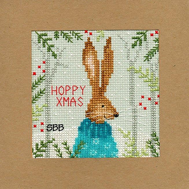 Bothy Threads Kits BTXMA10 Christmas Cards Xmas Hare ~ Karen Tye Bentley ~ 14ct Misty Blue Aida