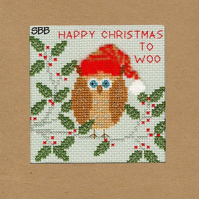 Bothy Threads Kits BTXMA11 Christmas Cards Xmas Owl ~ Karen Tye Bentley ~ 14ct Misty Blue Aida