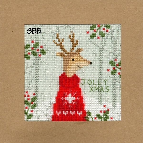 Bothy Threads Kits BTXMA12 Christmas Cards Xmas Deer ~ Karen Tye Bentley ~ 14ct Misty Blue Aida