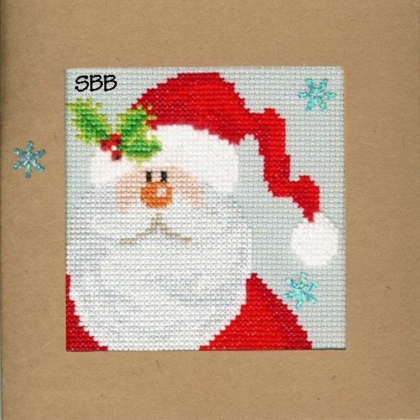 Bothy Threads Kits BTXMA15 Christmas Cards Snowy Santa ~ Karen Tye Bentley ~ 14ct Misty Blue Aida