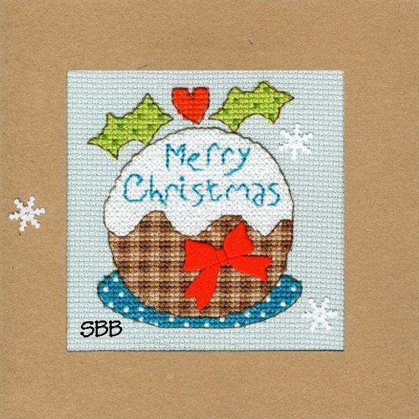 Bothy Threads Kits BTXMA16 Christmas Cards Snowy Pudding ~ Karen Tye Bentley ~ 14ct Misty Blue Aida