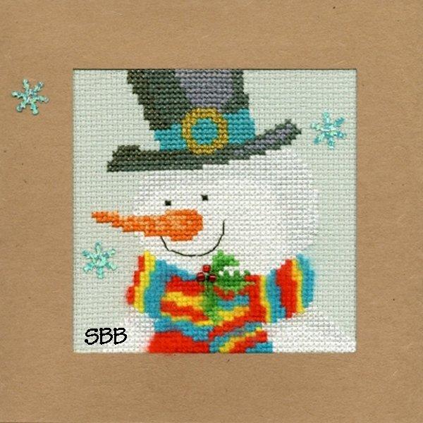 Bothy Threads Kits BTXMA17 Christmas Cards Snowy Man ~ Karen Tye Bentley ~ 14ct Misty Blue Aida