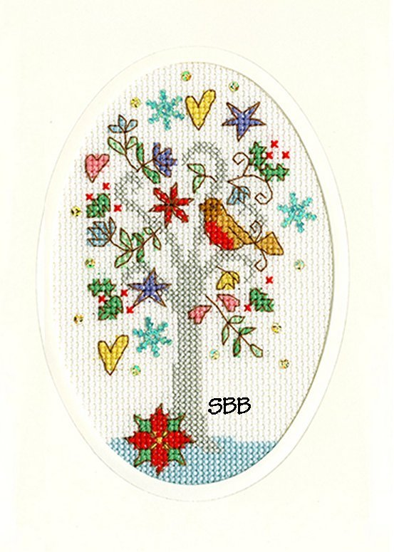 Bothy Threads Kits BTXMAS22 Christmas Cards Winter Wishes ~ Bothy Designs ~ 14ct Antique White Aida