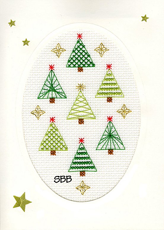 Bothy Threads Kits BTXMAS23 Christmas Cards Christmas Forest ~ Bothy Designs ~ 14ct Antique White Aida