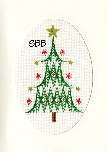 Bothy Threads Kits BTXMAS24 Christmas Cards Christmas Tree ~ Bothy Designs ~ 14ct Antique White Aida