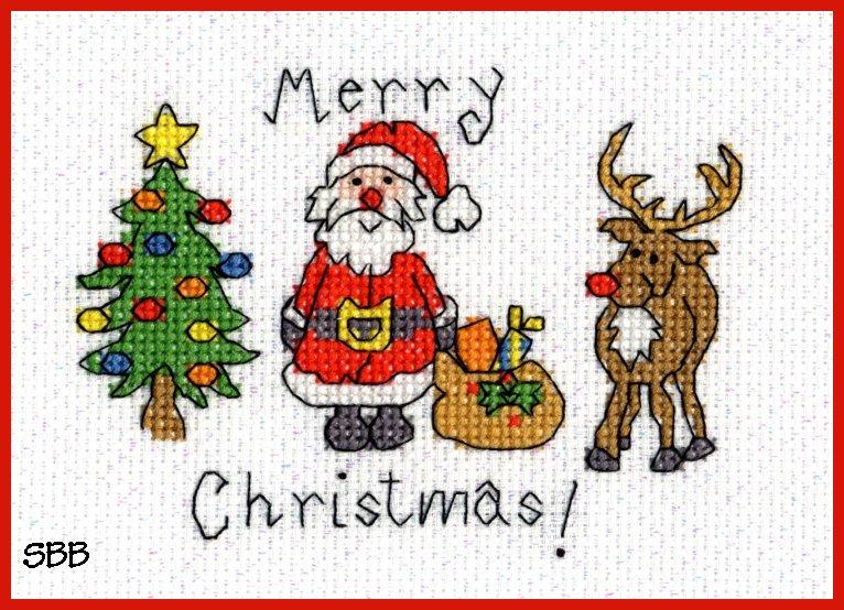 Bothy Threads Kits BTXMAS3 Christmas Cards Merry Christmas ~ June Armstrong ~ 14ct Aida