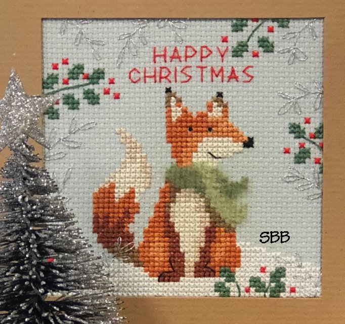 Bothy Threads Kits BTXMAS8 Christmas Cards Christmas Fox ~ June Armstrong ~ 14ct Misty Blue Aida