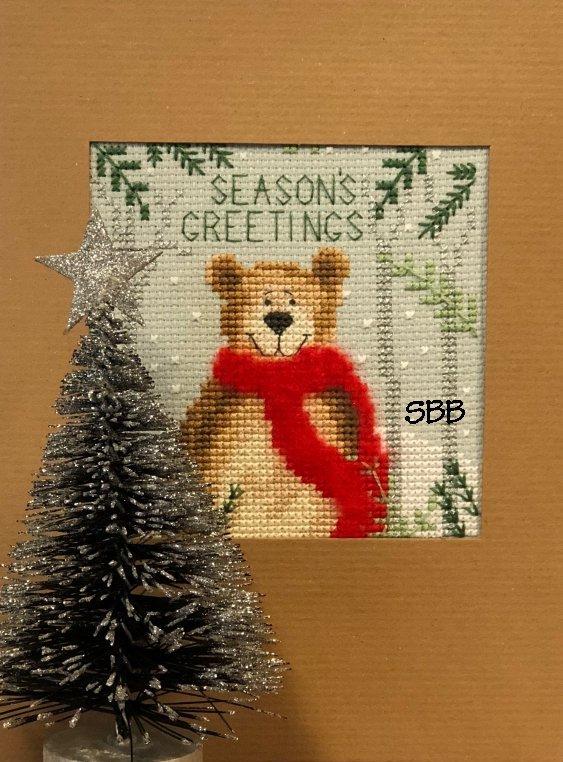 Bothy Threads Kits BTXMAS9 Christmas Cards Christmas Bear ~ Karen Tye Bentley ~ 14ct Misty Blue Aida