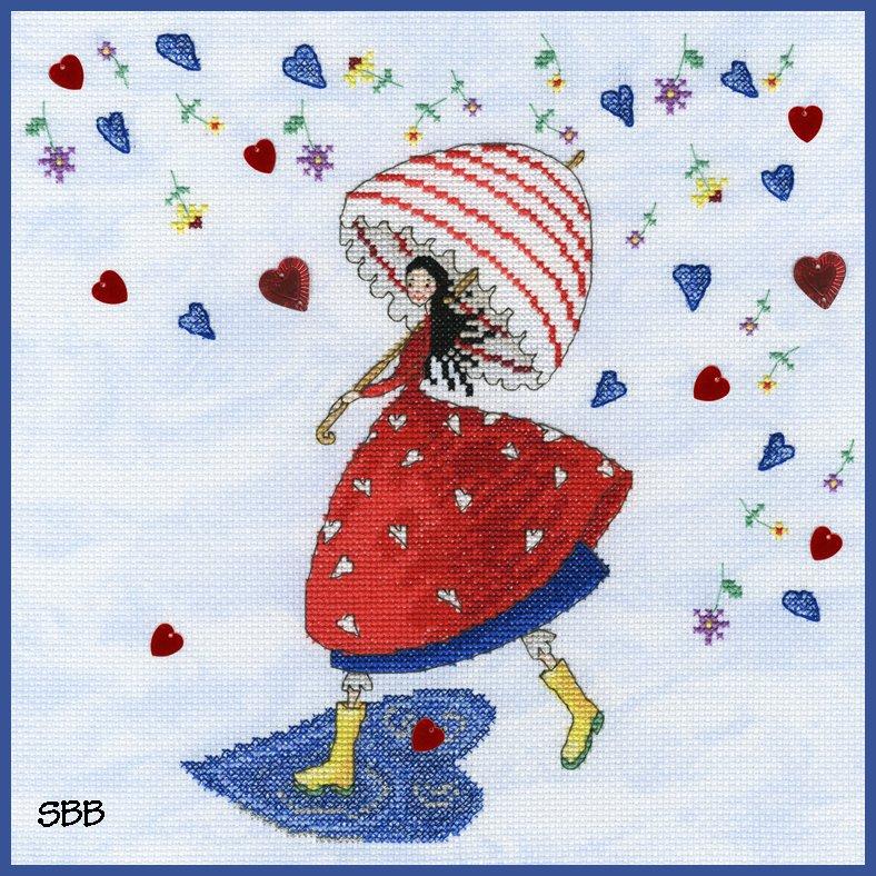 Bothy Threads Kits BTXMM1 Fairies Flower Rain ~ Mila Marquis ~ 14ct Cloudy Blue Aida
