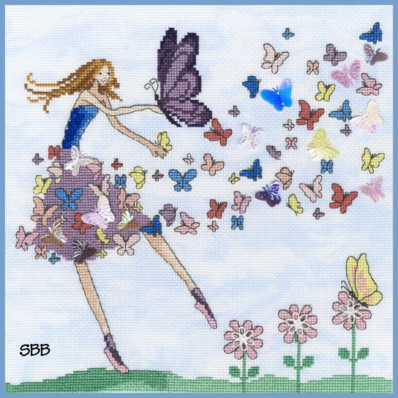 Bothy Threads Kits BTXMM2 Fairies Butterfly Dance ~ Mila Marquis ~ 14ct Cloudy Blue Aida