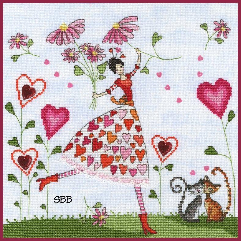 Bothy Threads Kits BTXMM3 Fairies Miss Heart ~ Mila Marquis ~ 14ct Cloudy Blue Aida