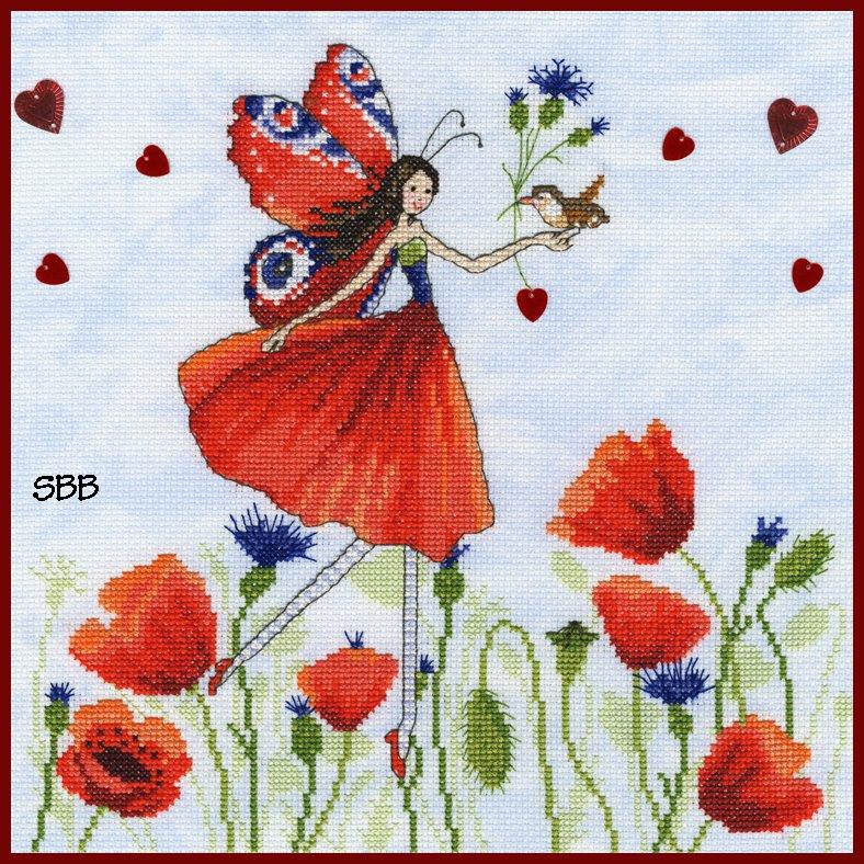 Bothy Threads Kits BTXMM4 Fairies Summer Meadow ~ Mila Marquis ~ 14ct Cloudy Blue Aida