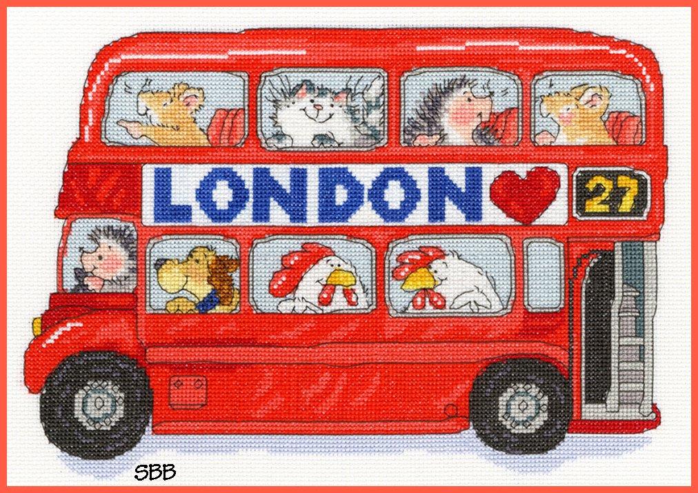Bothy Threads Kits BTXMS8 London Bus ~ Margaret Sherry ~ 14ct White Aida