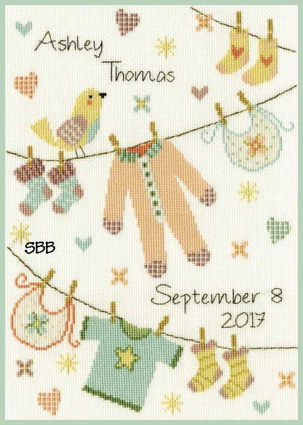 Bothy Threads Kits BTXNB4 Baby Grow ~ Imogen Hudson ~ 16ct White Aida