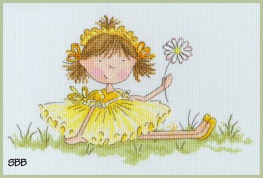 Bothy Threads Kits BTXNM2 Little Jem Meadow Flowers ~ Nicola Mason ~ 14ct Ice Blue Aida