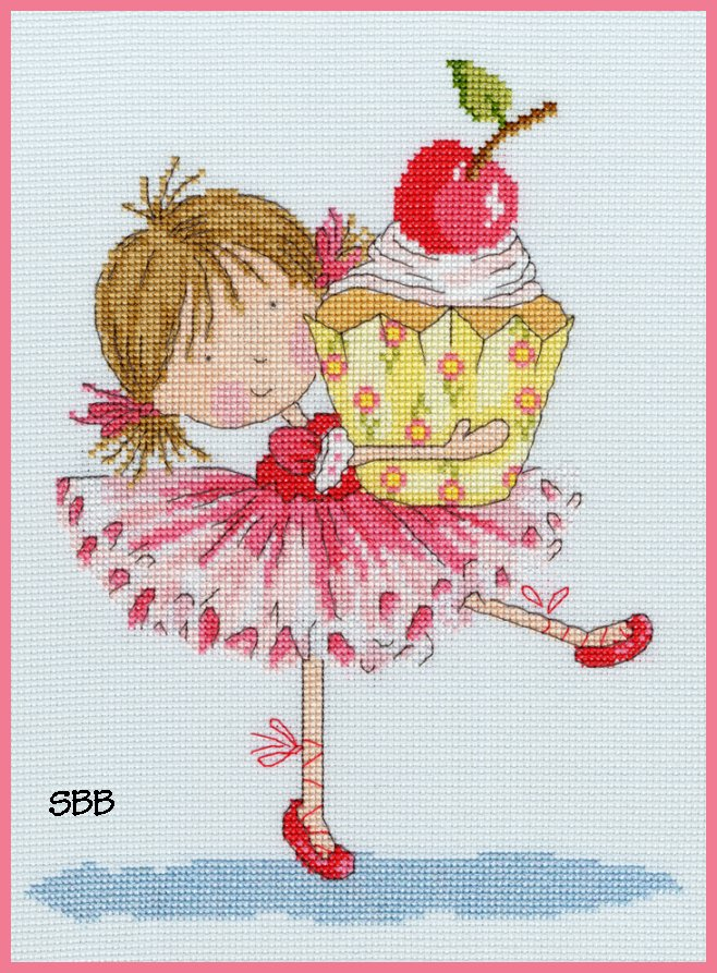 Bothy Threads Kits BTXNM5 Little Jem Cherry On Top ~ Nicola Mason ~ 14ct Ice Blue Aida