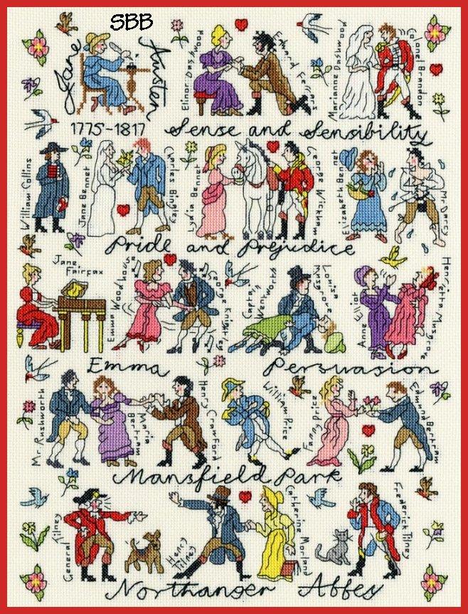 Bothy Threads Kits BTXPS4 Historical Jane Austen ~ Pete Smith ~ 14ct Cream Aida