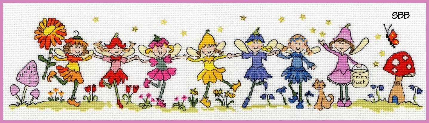 Bothy Threads Kits BTXRO1 Row Of Fairies ~ June Armstrong ~ 16ct Aida