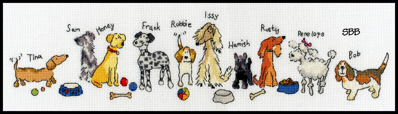 Bothy Threads Kits BTXRO2 Row Of Dogs ~ June Armstrong ~ 16ct Aida