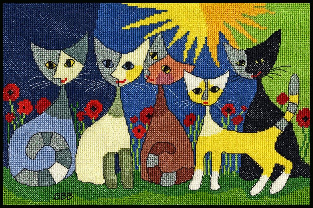 Bothy Threads Kits BTXRW6 Five Cats ~ Rosina Wachtmeister ~ 14ct White Aida
