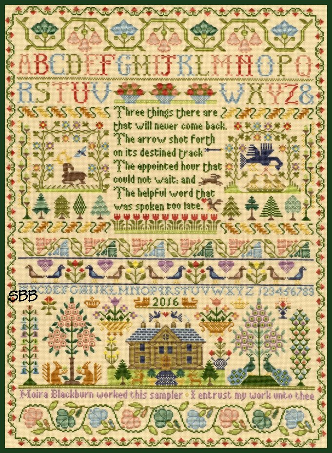 Bothy Threads Kits BTXS4 Three Things ~ Moira Blackburn ~ 16ct Parchment Aida
