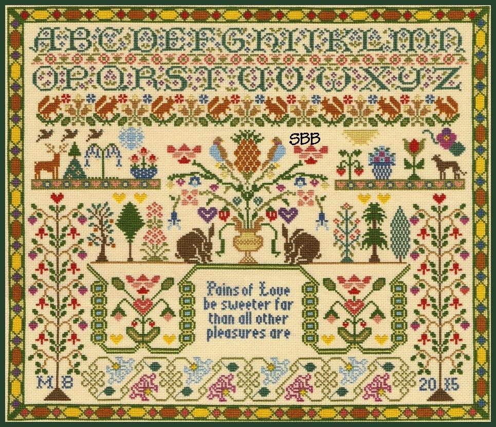 Bothy Threads Kits BTXS7 Pains Of Love ~ Moira Blackburn ~ 16ct Parchment Aida