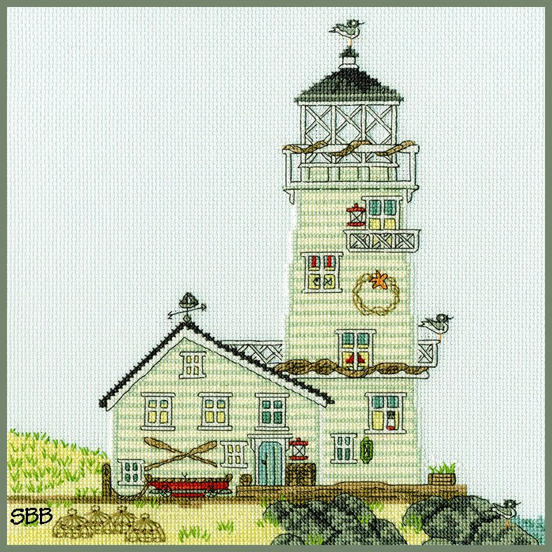 Bothy Threads Kits BTXSS6 New England The Lighthouse ~ Sally Swannell ~ l14ct Ice Blue Aida