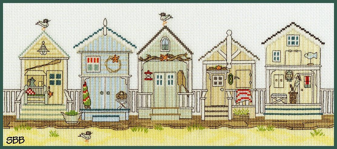 Bothy Threads Kits BTXSS7 New England The Beach Hut ~ Sally Swannell ~ l14ct Ice Blue Aida