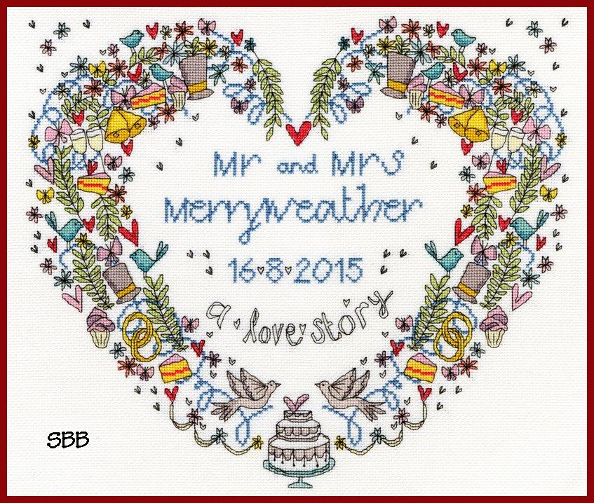Bothy Threads Kits BTXWS10 Wedding Samplers Wedding Heart ~ Rebecca Dennison ~ 16ct White Aida