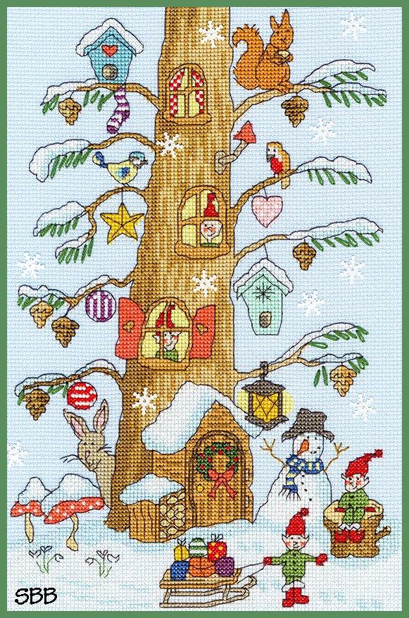 Bothy Threads Kits BTXX15 Santa's Little Helper ~ Karen Tye Bentley ~ 14ct Pale Blue Aida