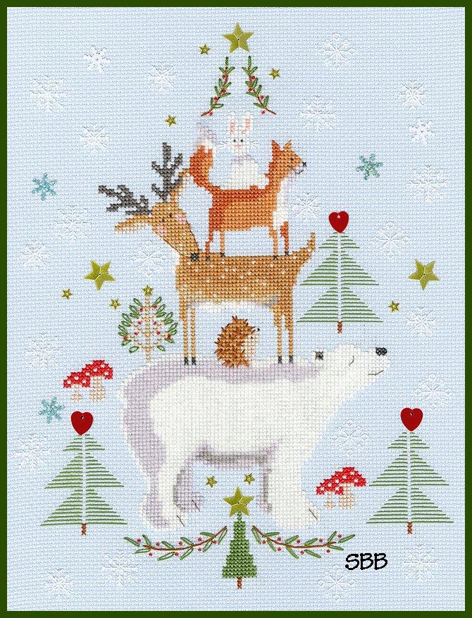 Bothy Threads Kits BTXX16 Snowy Stack ~ Karen Tye Bentley ~ 14ct Pale Blue Aida