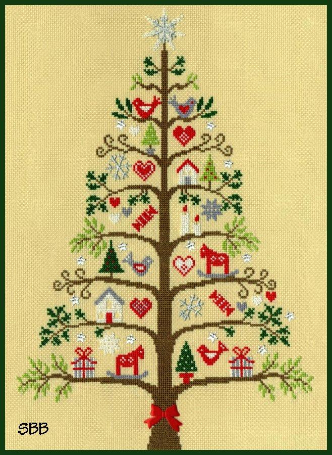 Bothy Threads Kits BTXX9 Christmas Scandi Tree ~ 14ct Parchment Aida