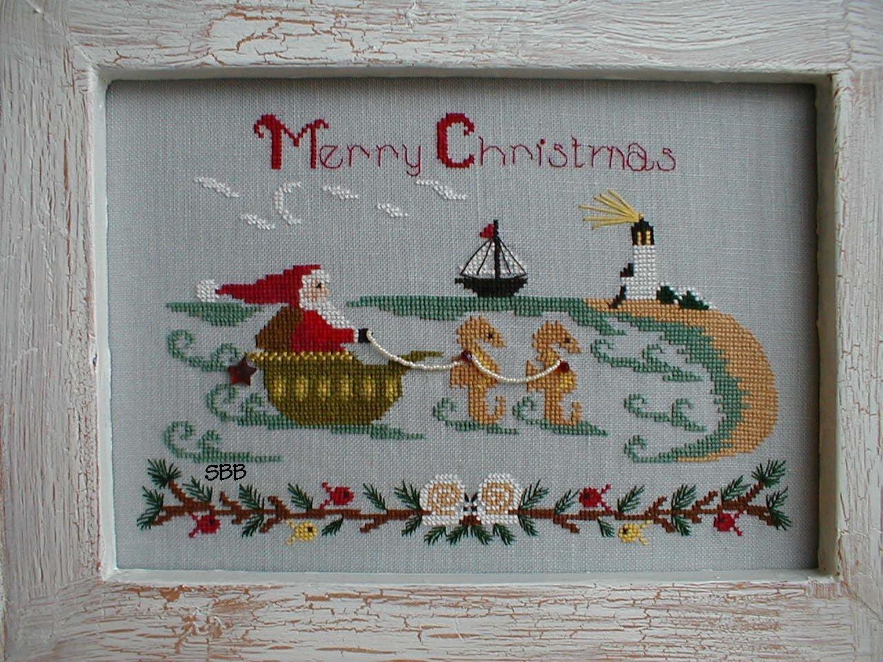 By The Bay Needleart Santa At The Seashore