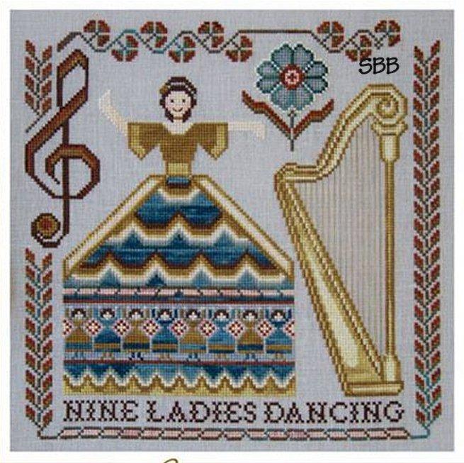 Cottage Garden Samplings CGS38 12 Days of Christmas Series ~ Nine Ladies Dancing