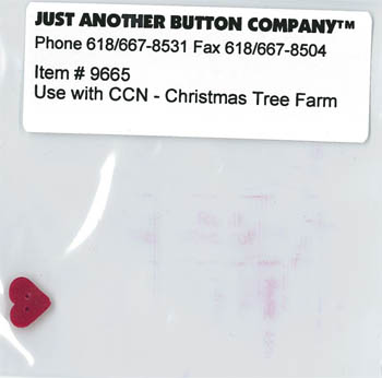 Country Cottage NeedleworksJABCo Button 9665/nh3506.S Small True Red Heart for Santa's Village #7 Christmas Tree Farm
