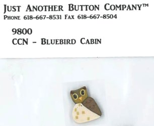 Country Cottage Needleworks JABCo 9800/1187.S Small Owl for Frosty Forest #5 ~ Bluebird Cabin