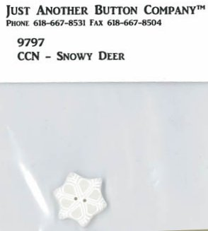 Country Cottage Needleworks JABCo 9797/4442.S Small Snowflake Button for Frosty Forest #2 ~ Snowy Deer