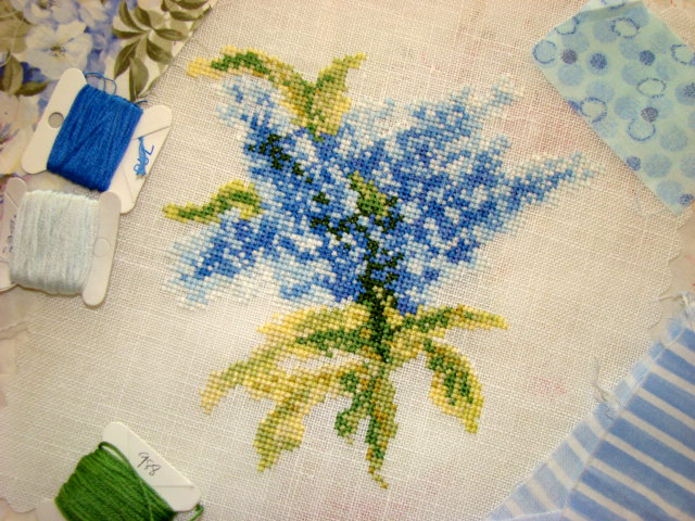 Country Garden Stitchery Blue Lilacs