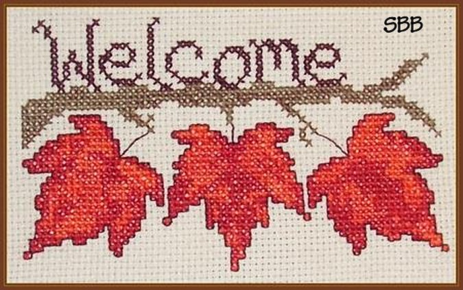 Cross-Point Designs Fall Leaf Welcome