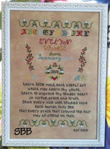 Cross Stitch Antiques Learn Little Maid/Man Birth Sampler