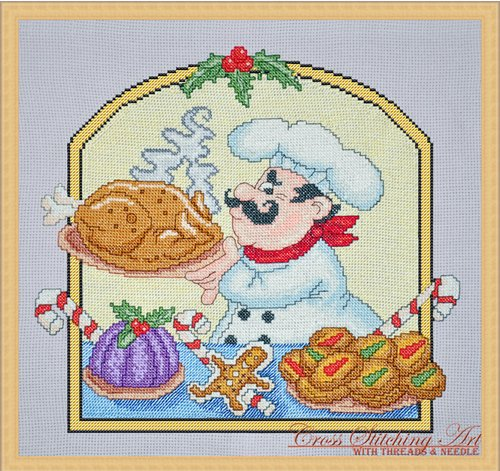 Cross Stitching Art Christmas Chef