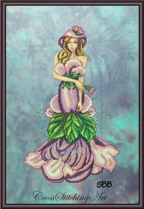 Cross Stitching Art Lady Violett