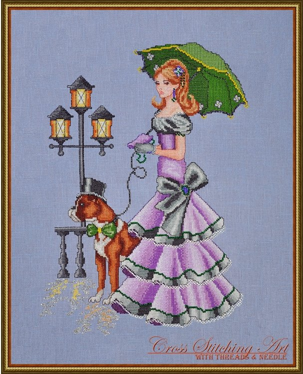 Cross Stitching Art Rainy Day Stroll