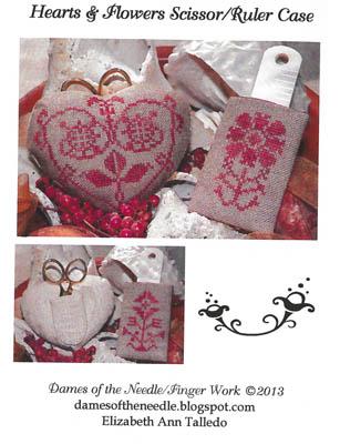 Dames Of The Needle Hearts & Flowers Scissor/Ruler Case
