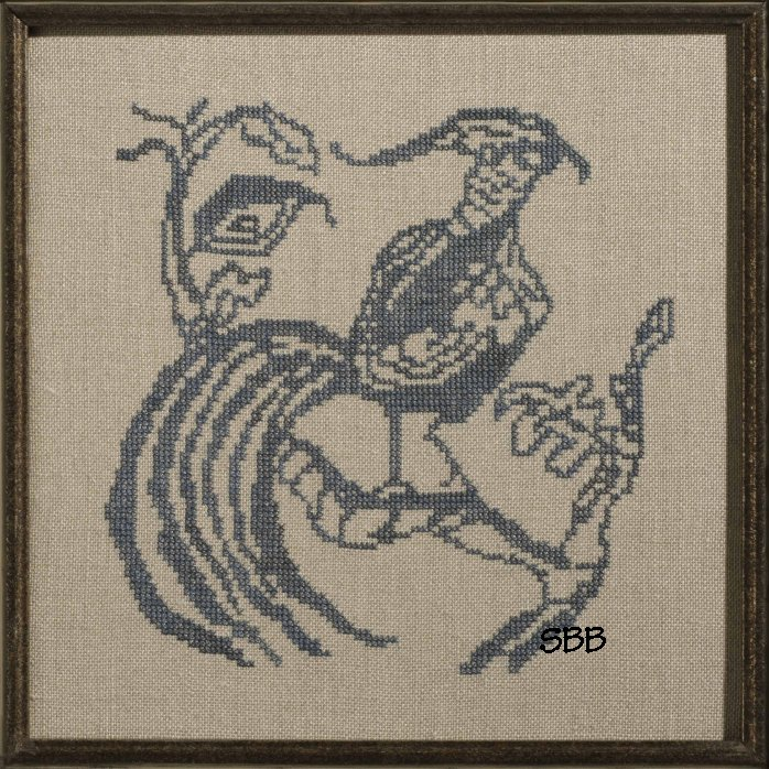 Dames of the Needle Toile Blue Pheasant