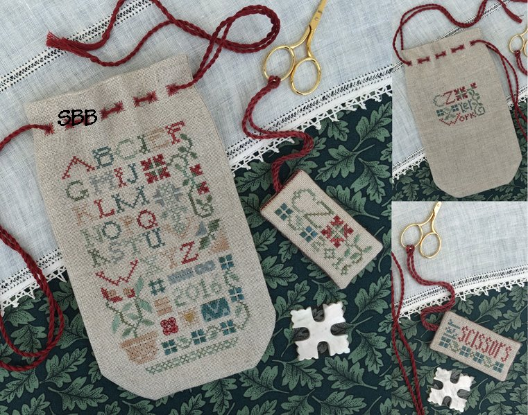 The Drawn ThreadDR256 Sampler Sack And Scissors Tag
